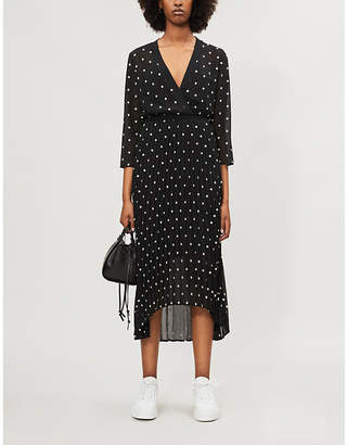 Maje Floral-embroidered wrap-style crepe dress