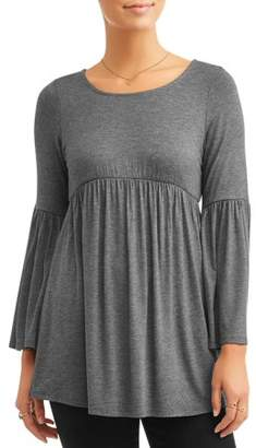 Attitude Unknown Women's Jersey Bell Sleeve Peasant Top