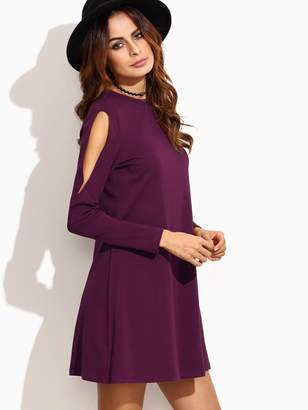 f8eff4f6d14 Shein Cold Shoulder Solid Trapeze Dress