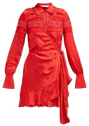 Self-Portrait Self Portrait Ruffled Satin Jacquard Wrap Dress - Womens - Red