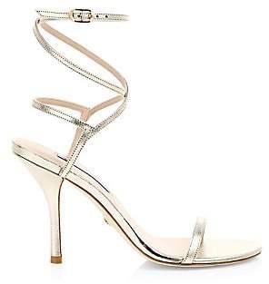 Stuart Weitzman Women's Merinda Ankle-Wrap Metallic Leather Sandals