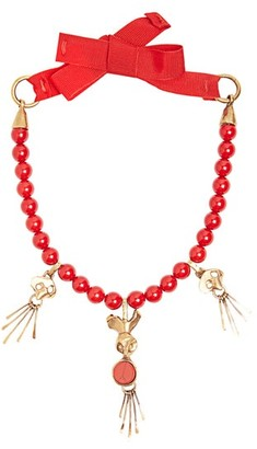 Valentino Skull Pendant Beaded Necklace - Womens - Red