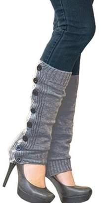 Fashionable ONLINE Women's Winter Crochet Knit Leg Warmers Button Cuffs Socks