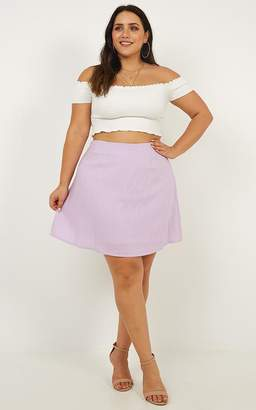 Showpo One of Us Skirt in lilac linen look - 6 (XS) A-Line Skirts