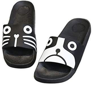 ZKHOECR Open Toe Slippers for Women Ladies Indoor Cartoon Slipper Cute Animal Soft Non-Slip Home Slippers Scuff Mules Rubber Sole Shoes Black White Cat and Dog Size