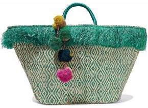 Kayu Pompom-Embellished Fringed Woven Straw Tote