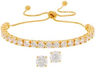 Diamonique Stud Earrings and Adjustable Bracelet Set, Boxed, Sterling