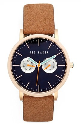 Men's Ted Baker London Multifunction Leather Strap Watch, 40Mm $165 thestylecure.com