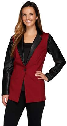 Linea By Louis Dell'olio by Louis Dell'Olio Color Block Button Front Blazer