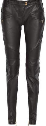 Balmain Leather Skinny Pants - Black
