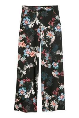 H&M Wide-cut Satin Pants - Black/floral - Women