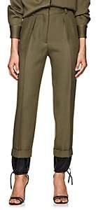 Victoria Beckham Women's Drawstring-Hem Wool High-Waist Trousers - Military Green