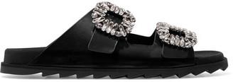 Roger Vivier Slidy Viv Crystal-embellished Leather Slides - Black