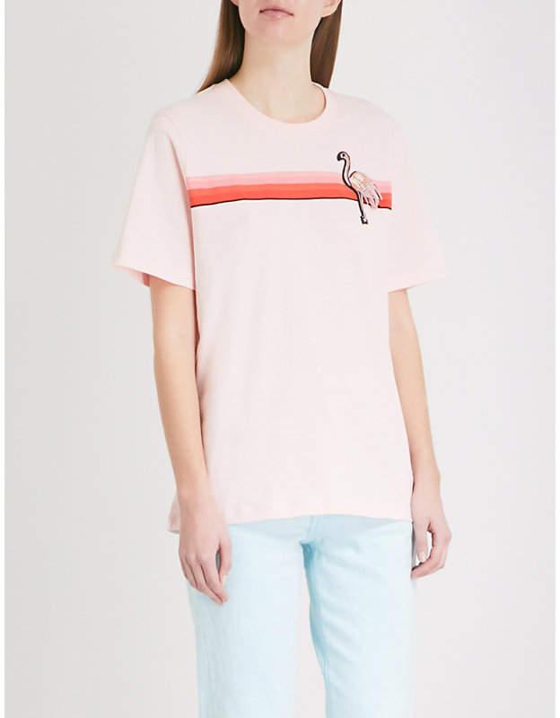 Markus Lupfer Flamingo Stripe cotton-jersey T-shirt