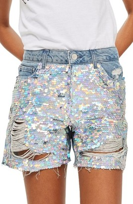 Women's Topshop Ariel Ashley Sequin Boyfriend Shorts $70 thestylecure.com