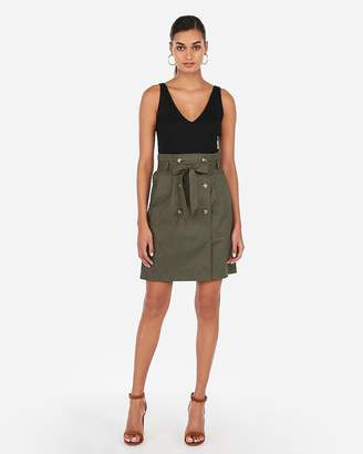 Express High Waisted Double Button Sash Tie Mid-Thigh Skirt