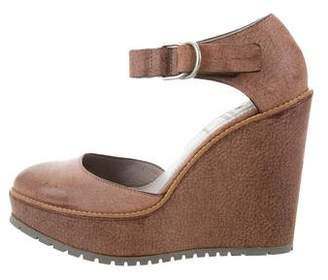 Brunello Cucinelli Leather Round-Toe Wedges w/ Tags