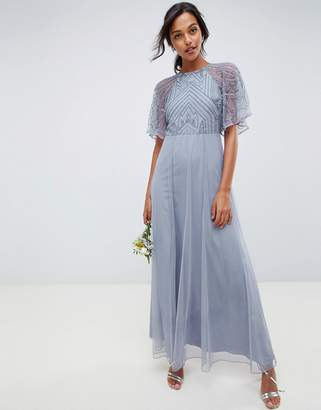 Asos Design DESIGN delicate embellished angel sleeve maxi dress