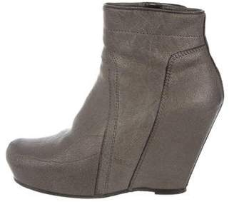 Rick Owens Platform Wedge Ankle Boots