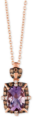 "LeVian Le Vian Cotton Candy Amethyst (1-1/5 ct. t.w.) & Diamond (1/5 ct. t.w.) 18"" Pendant Necklace in 14k Rose Gold"