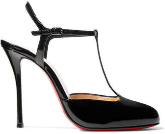 Louboutin Me Pam 100 Patent Leather T Bar Pumps Black