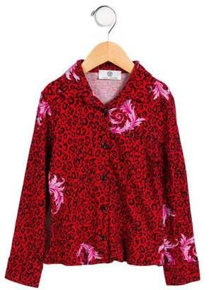 Versace Girls' Embellished Leopard Printed Top