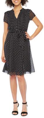 MSK Short Sleeve Dot Print Shirt Dress