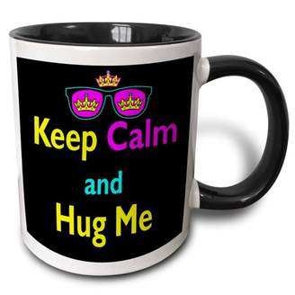 3dRose CMYK Keep Calm Parody Hipster Crown And Sunglasses Keep Calm And Hug Me - Two Tone Black Mug, 11-ounce