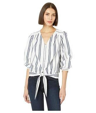 Vince Camuto Long Sleeve Valiant Stripe Button Down Tie Front Blouse