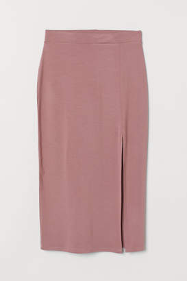H&M Jersey Skirt with Slit - Pink