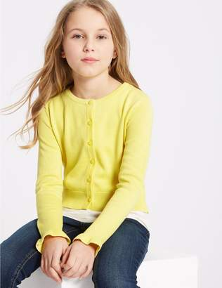 Marks and Spencer Pure Cotton Frill Sleeve Cardigan (3-16 Years)