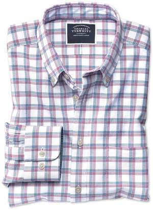 Charles Tyrwhitt Slim Fit Red and Navy Check Washed Oxford Cotton Casual Shirt Single Cuff Size Medium