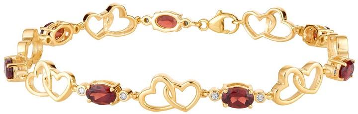 10k Gold Garnet & 1/6 Carat T.W. Diamond Double Heart Link Bracelet
