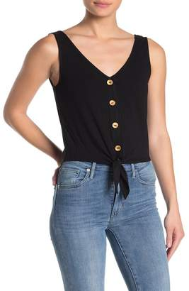 Elodie K Tie Front Button Up Tank Top