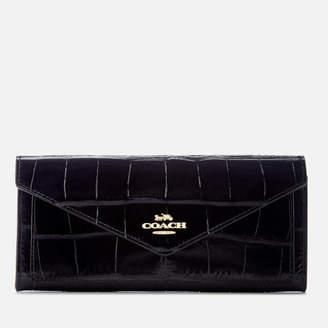 Coach Women's Embossed Croc Soft Wallet - Midnight Navy