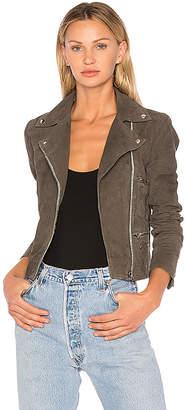 Muubaa Flint Suede Moto Jacket in Gray $534 thestylecure.com