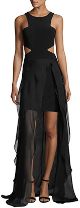 Jovani Sleeveless Cutout High-Low Hem Gown, Black $460 thestylecure.com