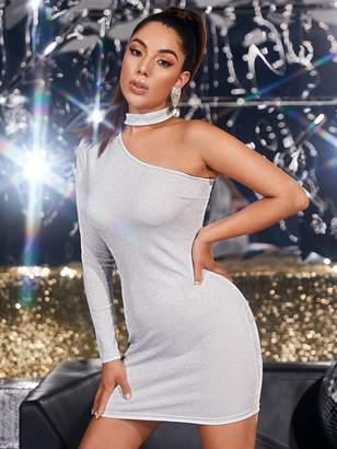 Shein Choker One Shoulder Glitter Bodycon Dress
