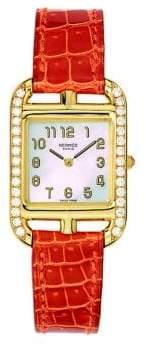 Hermes Cape Cod Diamond, 18K Yellow Gold& Alligator Strap Watch