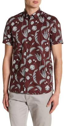 Ted Baker Short Sleeve Statement Print Trim Fit Shirt