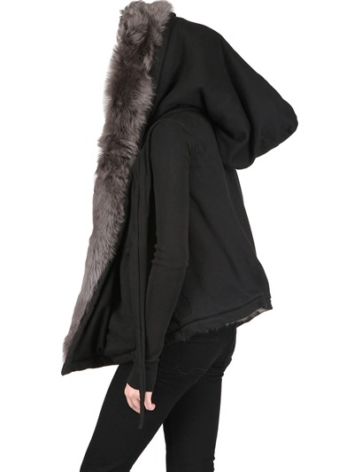 Rick Owens Reversible Fur And Fleece Sweatshirt