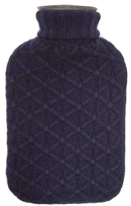 Allude Lattice Knit Cashmere Cover Hot Water Bottle - Navy
