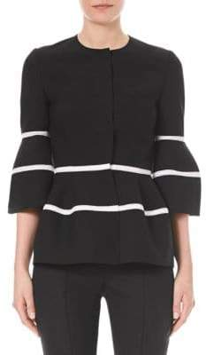 Carolina Herrera Striped Balloon-Sleeve Jacket
