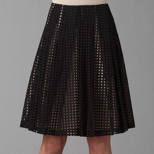Akris Eyelet Pleated Skirt