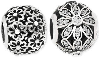 Rhona Sutton 2-Pc. Cubic Zirconia Daisy Bead Charms in Sterling Silver
