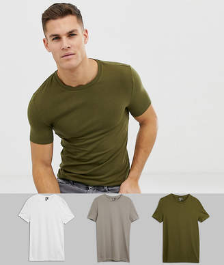 4349a26cf8b Asos Design DESIGN organic muscle fit crew neck t-shirt with stretch 3 pack  multipack