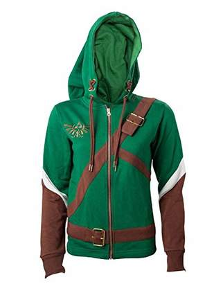 Bioworld EU Women's Nintendo Legend of Zelda Female Link Outfit Full Length Zip Hoodie,14 (Manufacturer Size: L)