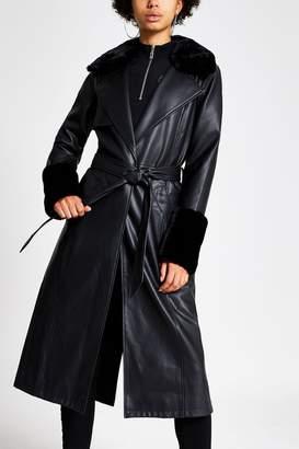 River Island Womens Black Faux Fur Cuff Trench Jacket - Black