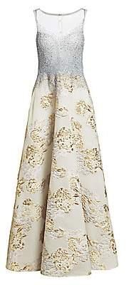 Teri Jon by Rickie Freeman Women's Embellished Metallic Floral Jacquard Gown
