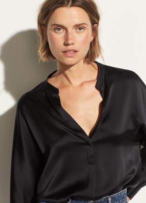 Band Collar Silk Blouse